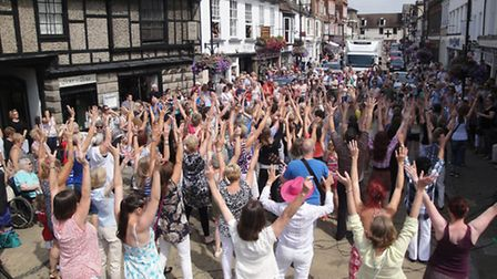 The flash mob dancers packed into Bridge Street for their Twist and Shout routine Picture by Ian Jac