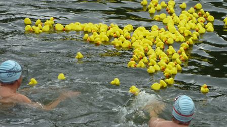 Action from last year's St Neots duck race Picture by Joanne Oxenham