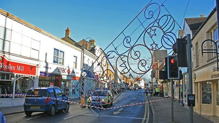 COLLAPSE: The scene in St Neots High Street following the collapse of the Christmas lights.