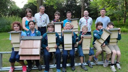 The Seventh Royston scouts with some of their bat boxes
