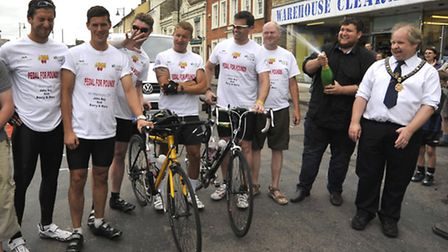 Pedal For Pounds fundraising cycling team arrive in St Ives, (l-r) Tom Dockerill, Adam King, Steve P