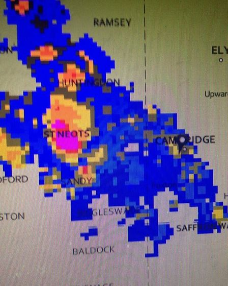 Cambridge Weather station's weather map showed the storm brewing over St Neots shortly fter midnight