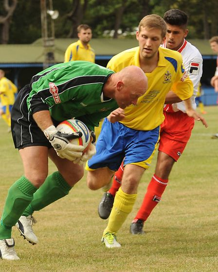 Paul Bastock collects the ball. Picture by Bob Walkley