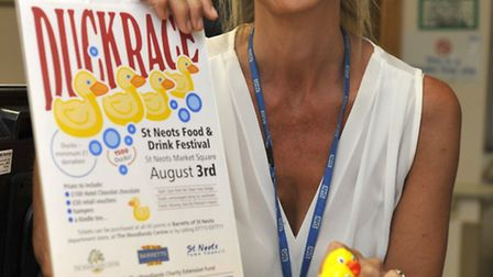 Gini Melesi with herducks for the duck race at the St Neots Food and Drink Festival is being held in