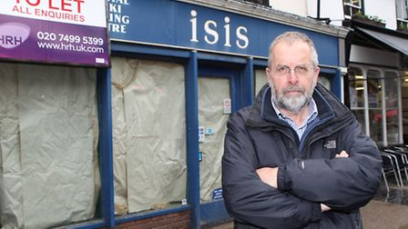 Melvyn Teare outside Isis, is unhappy that the shop has been left to become an eyesore in a prime lo