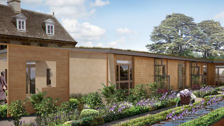 Planned courtyard for Sue Ryder Thorpe Hall hopice in Peterborough