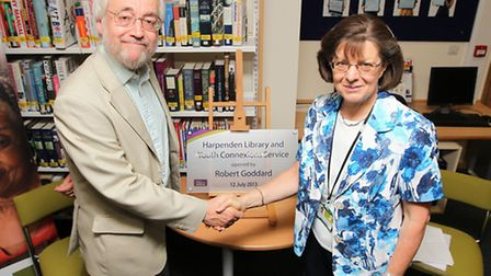 Author Robert Goddard opens the new Harpenden Library with cabinet member for libraries Francis Butt