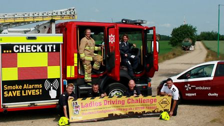Fire fighters from Royston Fire Station launch the ladies driving challenge