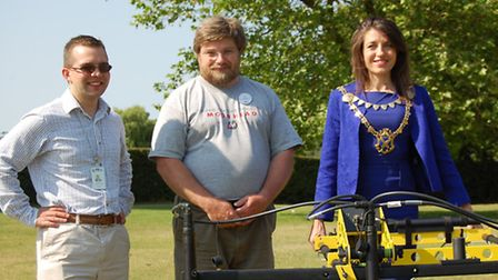 Pictured with the four-probe magnetometer are left to right: Cllr Daniel Chichester-Miles, Portfolio