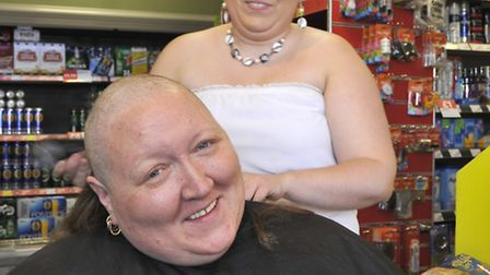 St Ives Spar Shop manager Eileen Herd-Harbert taking part in a charity Head Shave for Rosies Appeal,