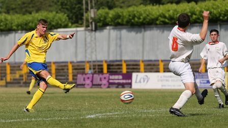 James Kaloczi let fire to score from range. Picture by Leigh Page