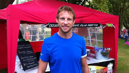 F1 ace Jenson Button at the triathlon, organised to raise funds for Help for Heroes. He is pictured