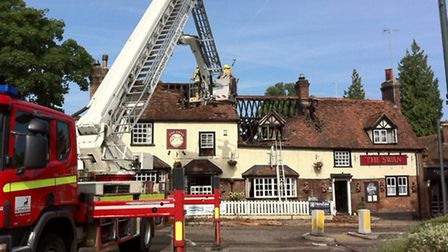 Fire crews at the scene of this morning's fire at the Swan Pub in Wheathampstead