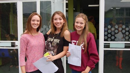 Katie Lambert, Alice Shepard and Bethany Thomas from St Albans Girls School were all smiles on GCSE