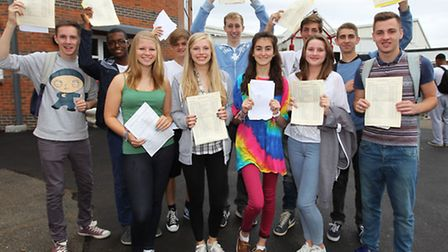 A group of students at Sandringham School celebrate their GCSE results