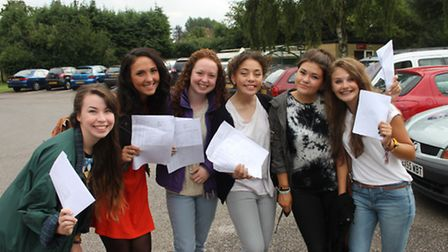 A group of girls from Marlborough Achool proudly clutch their GCSE results