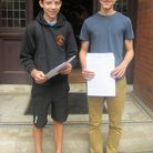 St Columba's College in St Albans has welcomed its GCSE results. Celebrating their marks are Sam Gri