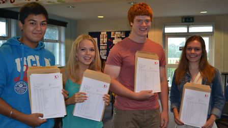 Amanveer Benning, Lucy Dennis, Ralph Adams-Hale, and Bryony Thomas celebrate their excellent results