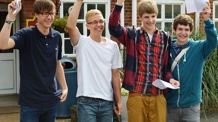 Beaumont School pupils in St Albans celebrating their GCSE results
