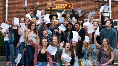 Beaumont students celebrating their results earlier this morning