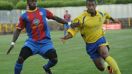 Howard Hall in action on Tuesday night against Crystal Palace. Picture by Bob Walkley