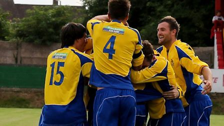 Saints celebrate John Frendo's winner. Picture by Leigh Page