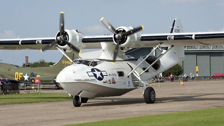 The Catalina comes in to land at the IWM Duxford