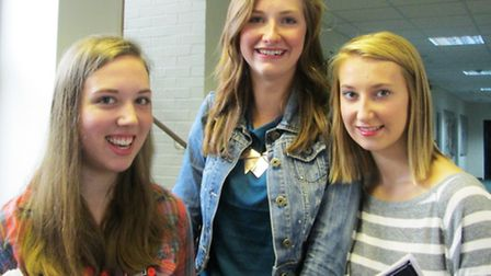 Melbourn Village College pupils Ellie Woods, Mollie Gorman and Alice Young pick up their results