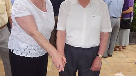 Chairman Julia Roche and John Dickens, who has been a member for 48t years.