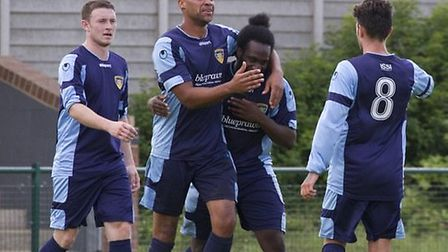 Gavin Hoyte, centre, will be the captain of St Neots Town this season. Pictures: Claire Howes