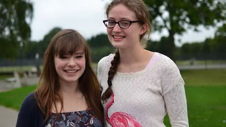 Katie Findlay and Jessica Newlove after opening their results this morning