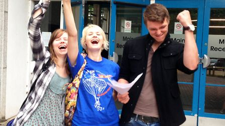 Louise Townsend (left), Lana Merritt and George Milleret (right) from Oaklands College
