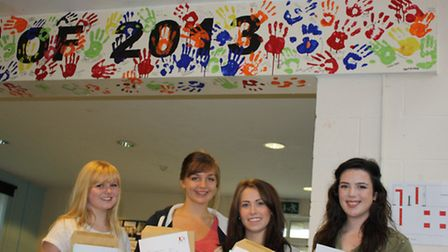 Lisa Glover, Ellen Bentley, Charlotte East and Anna Cooke celebrate their excellent results