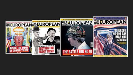 Past front covers of The New European - the award-winning newspaper for Remainers. (Pictures: Archan