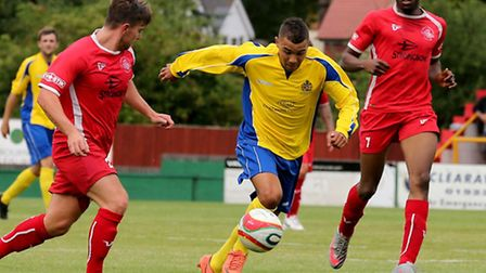 Aston Goss scored for St Albans in the Herts Charity Cup final. Picture by Leigh Page