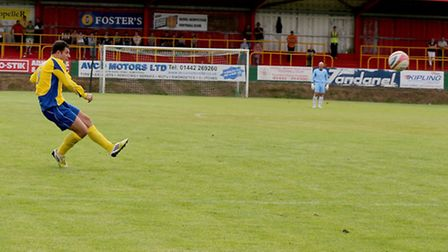 John Frendo curls in a free-kick to win the game for St Albans. Picture by Leigh Page