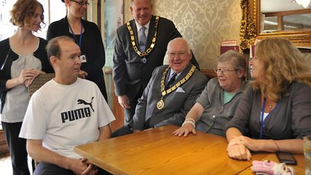 Official opening by the mayor of a new social and support group at The Priory, St Neots, (back l-r)