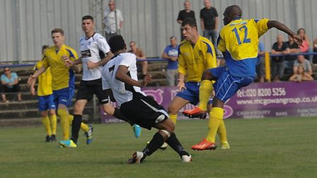 Chris Henry scores for St Albans in a 1-0 win over Corby Town. Picture by Bob Walkley