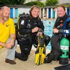 Scuba Trust member Howard Sobey with Roz Lunn and Laura Greene as they prepare to take part in a 24