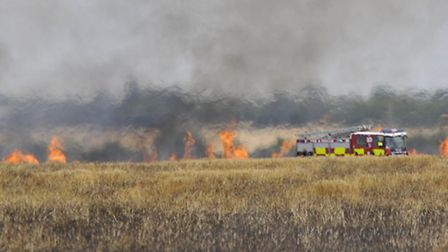 Firefighters tackle the blaze in a field in Caxton Road, Eltisley Picture by Helen Drake
