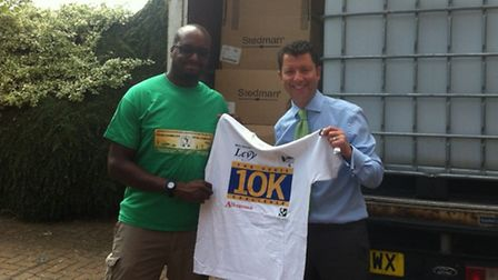 St Albans City Football Club has donated about 2,000 old Herts 10k t-shirts to Football Gambia. Pict