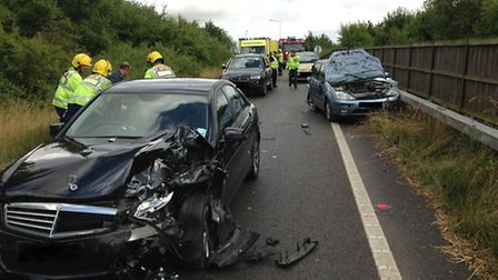 The damage following the crash on the A14 westbound slip road at Brampton
