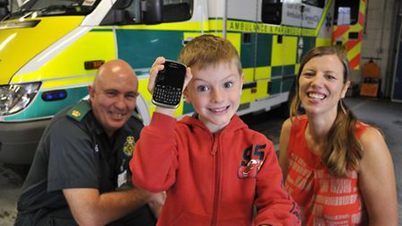 Harry Oldham (5) from Buckden came to his mother's aid by calling 999, (left) Clive Goodson, assista