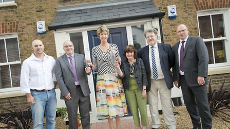 The Lord Leuitnenat, Lady Verulam, (centre) hands over the keys to the new social housing - photo by