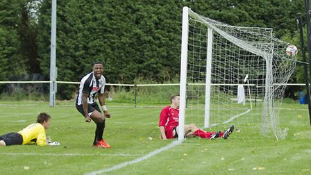 Dubi Ogbonna scores the winner on his debut for St Ives. Picture: Louise Thompson.