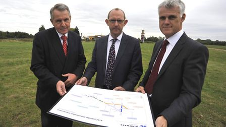 A14 Huntingdon southern by-pass proposed route consultation launch , (l-r) Chief Executive of LEP G