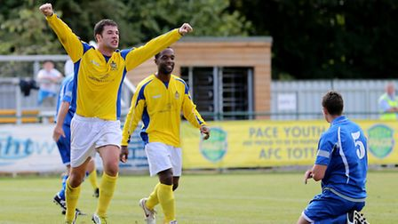 John Frendo celebrates scoring his second goal of the afternoon. Picture by Leigh Page