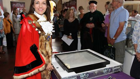 Mayor of St Albans councillor Annie Brewster with the Magna Carta as it is prepared for departure fr
