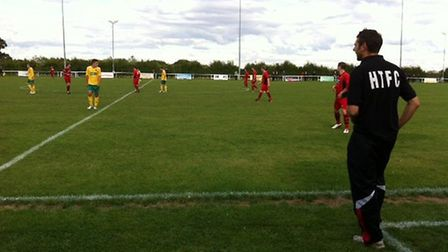 Ricky Marheineke watches from the sidelines as his Huntingdon team beat Wisbech on Saturday. Picture