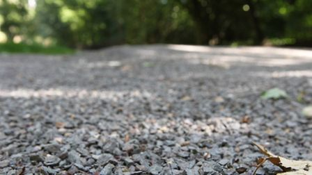 Loose gravel on the cycle path in Verulamium park